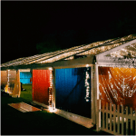 Marquee pavilion coloured walls red blue orange
