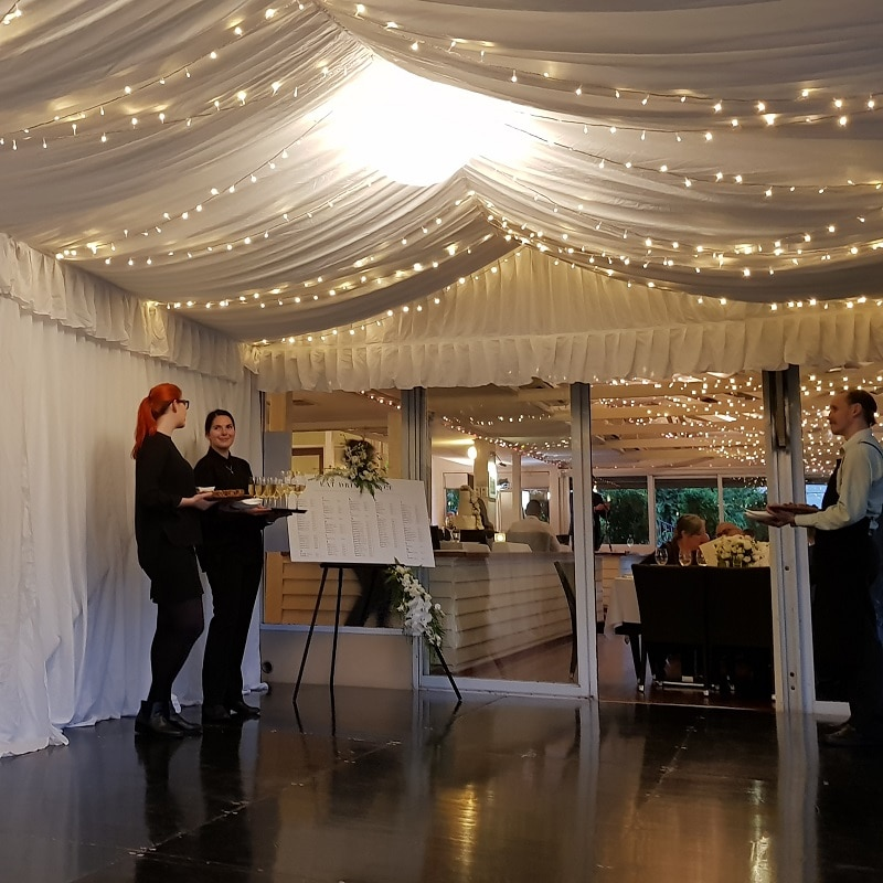 Wedding Hire Adelaide marquee lining wedding jolleys boat house fairy lights