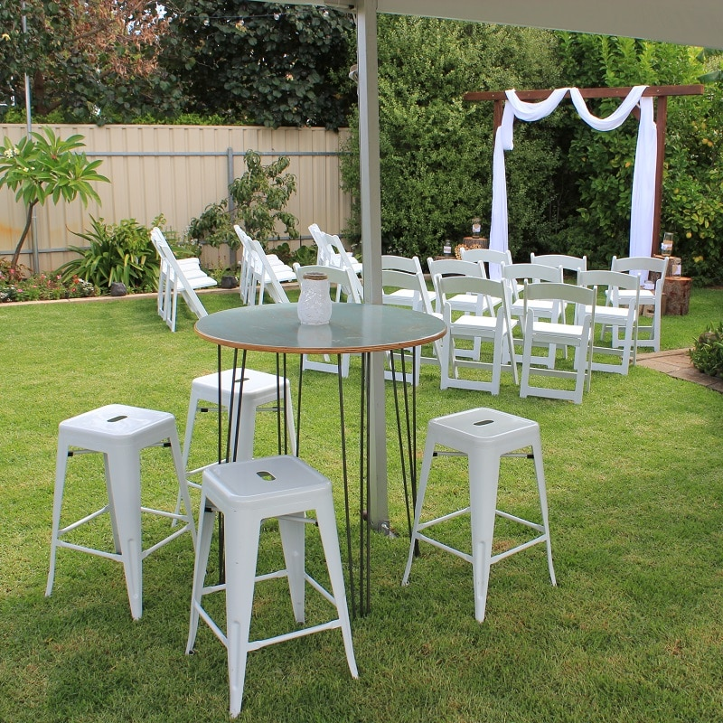 Wedding Hire Adelaide ceremony backyard tolix bar stools hairpin leg bar tables