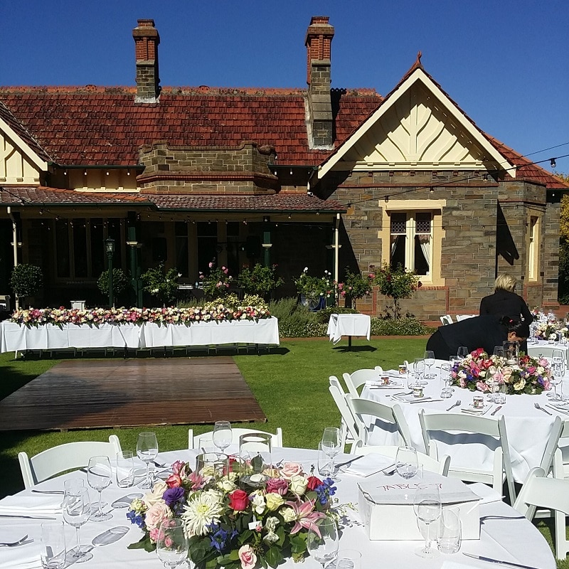 Wedding Hire Adelaide Partridge House round tables