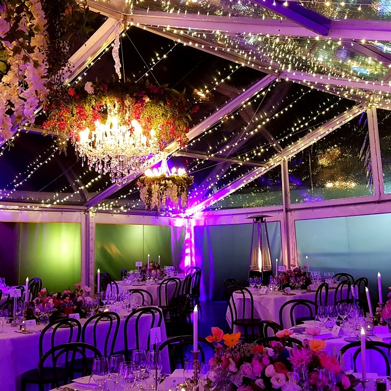 Event hire oval tables and bentwood chairs