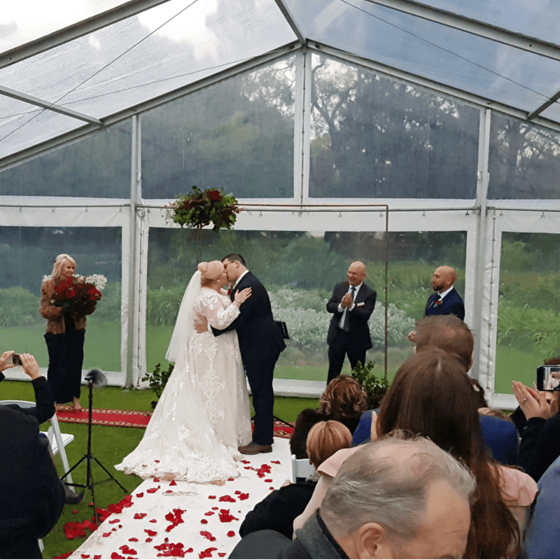 Beaumont house wedding in clear roof pavilion