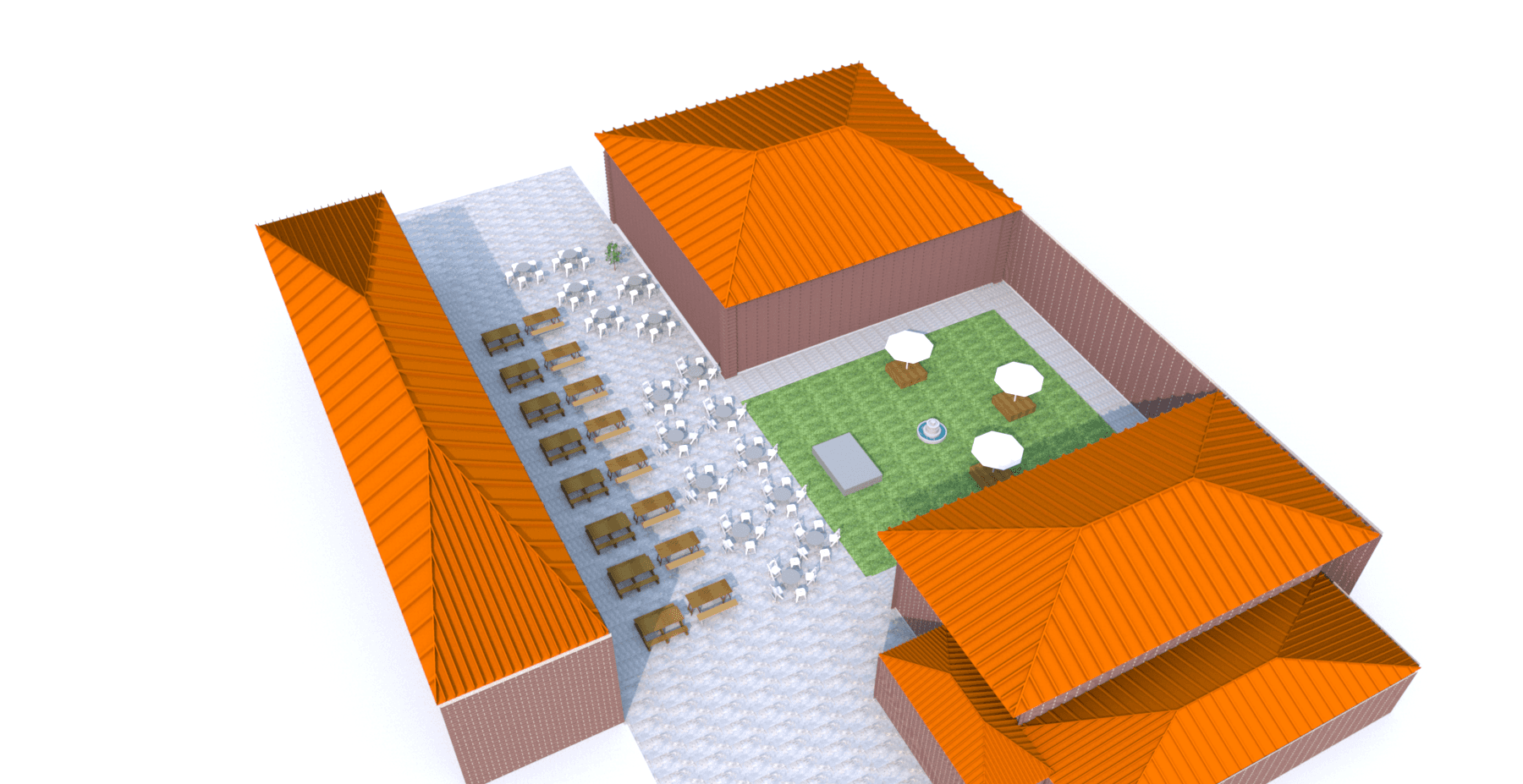 3D design of St. Aloysius outdoor seating
