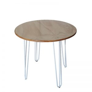 white hairpin leg on cafe table