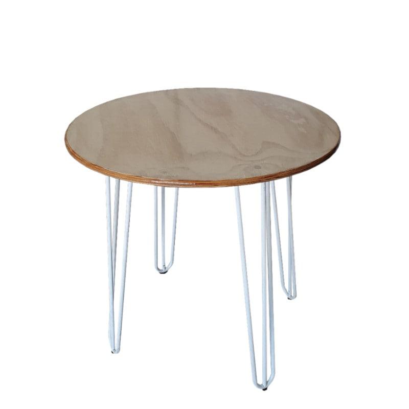 white hairpin leg on cafe table